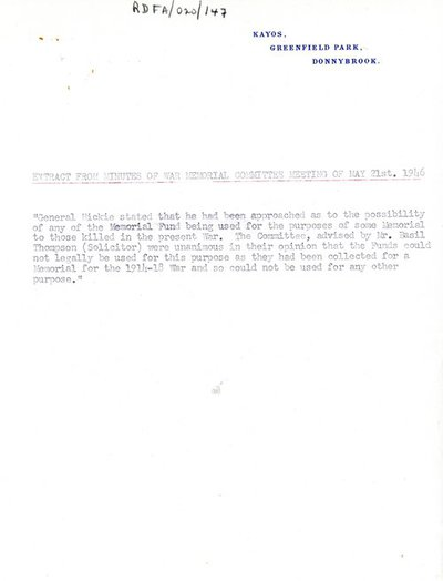 Extract from Minutes of War Memorial Committee Meeting of 21 May 1946