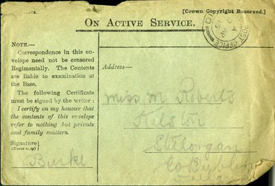 Letter from J. Burke CQMS to Monica Roberts