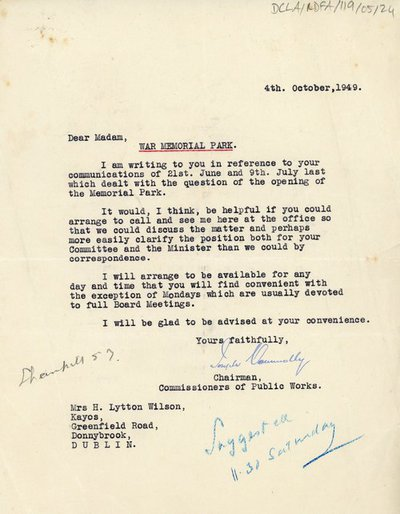 Letter from Joseph Connolly, Chairman of the Commissioners for the Office of Public