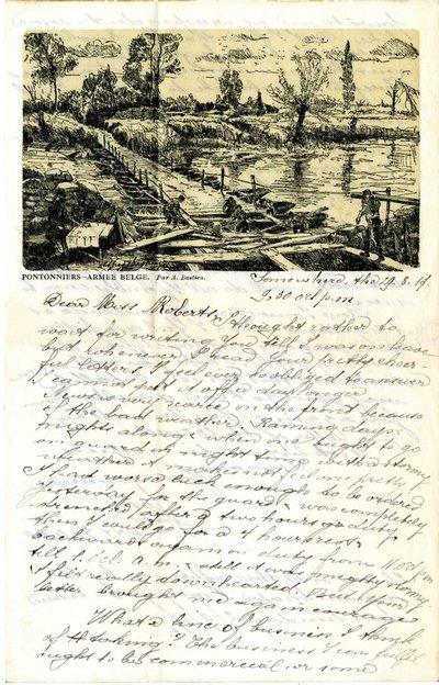 Letter DCLA/RDFA.01.08.010 from Belgian Soldier J. Verachtert to Monica Roberts