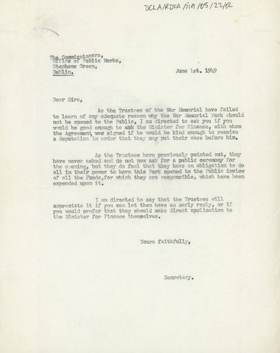 Letter to the Commissioners from the Office of Public Works