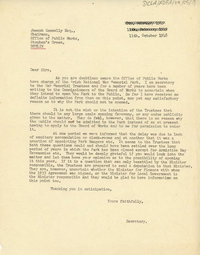Letter to Joseph Connolly, Chairman of the Commissioners for the Office of Public Works