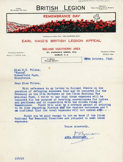 Letter from the British Legion to H.W. Wilson