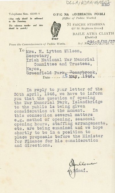 Letter to Mrs H. Lytton Wilson from The Office of Public Works