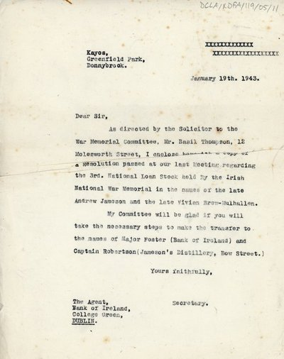 Letter to the Agent of Bank of Ireland
