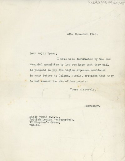 Letter to Major Tynan from the Secretary of the War Memorial Committee