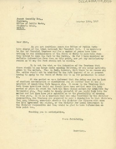 Letter to Joseph Connolly Esq., Chairman for the Office of Public Works