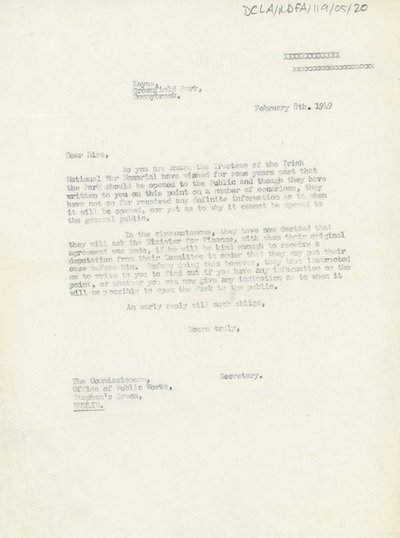 Letter to the Commissioners of the Office of Public Works