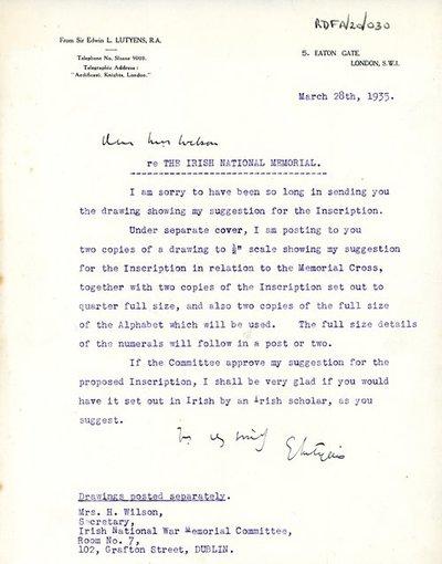 Letter from Sir Edwin Lutyens, 5 Eaton Gate, London SW1 to Miss H.G. Wilson, Secretary, Irish National War Memorial Committee.