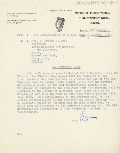 Letter to Mrs H. L. Wilson from the Office of Public Works