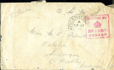 Letter from Private E. Henderson to Monica Roberts