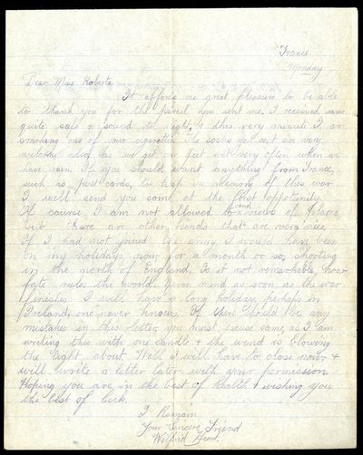 Letter DCLA/RDFA1.07.002 from Wilfred Hunt to Monica Roberts