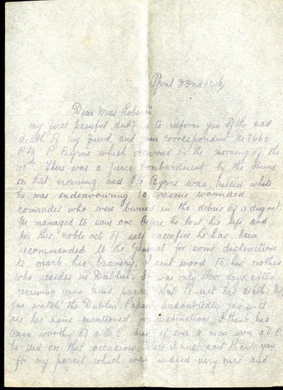 Letter from Private Joseph Clark to Monica Roberts