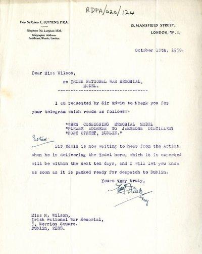 Letter from E.J. Webb, Secretary to Sir Edwin Lutyens, to Miss H.G. Wilson, Secretary, Irish National War Memorial Committee.