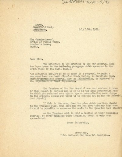 Correspondence between the Office of Public Works, Bank of Ireland and Mrs. H. L. Wilson regarding road building plans.
