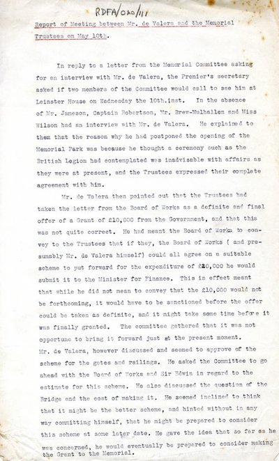Report of Meeting between Mr. de Valera and the Memorial Trustees on 10 May 1939.