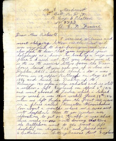 Letter from Private Edward Mordaunt to Miss K. Roberts