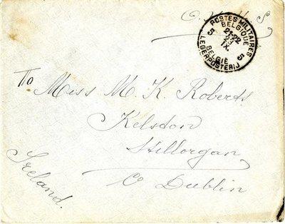 Letter DCLA/RDFA/01.08.012 from Belgian Soldier J. Verachtert to Monica Roberts