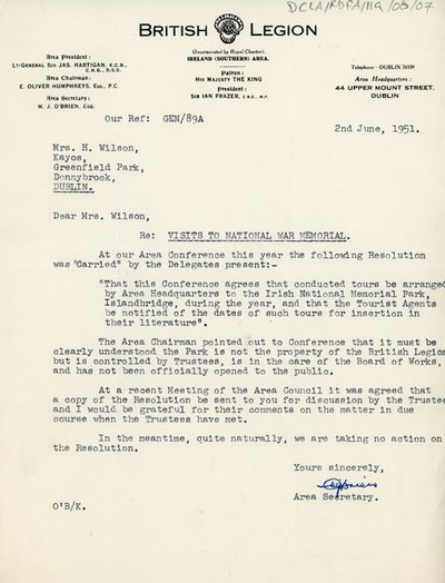 Letter from the Area Secretary of the British Legion to H. Wilson