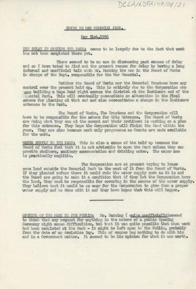 Notes regarding updates pertaining to the War Memorial Park