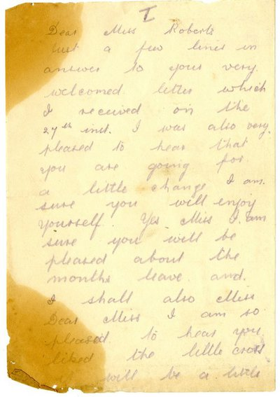 Letter from Driver William De Combe to Monica Roberts