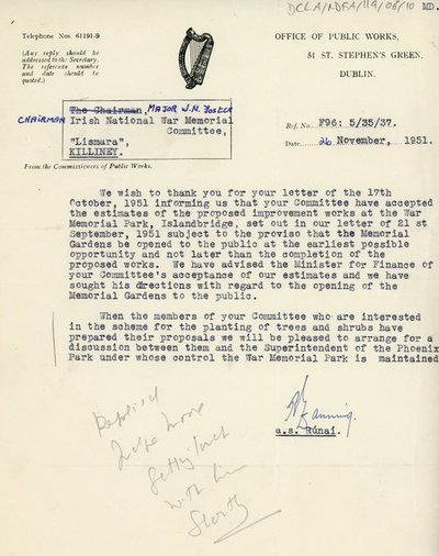 Letter from the Office of Public Works to Major W.M. Foster, Chairman of the Irish National War Memorial Committee