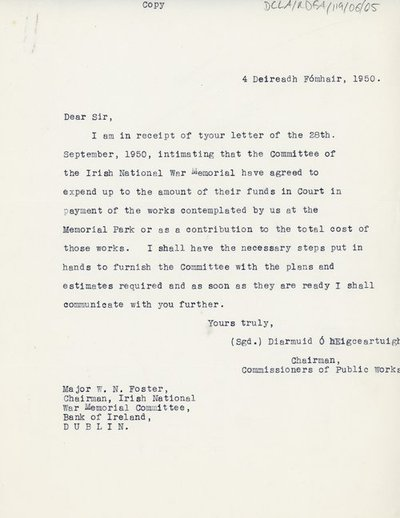 Letter from the Chairman of the Commissioners of Public Works to Major W. N. Foster, Chairman of the Irish National War Memorial Committee