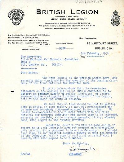 Letter [original] from A.P. Connolly, Area Chairman, British Legion Irish Free State Area, to [Miss H.G. Wilson], Secretary, Irish National War Memorial Committee, Room No. 7, 102 Grafton Street, Dublin.