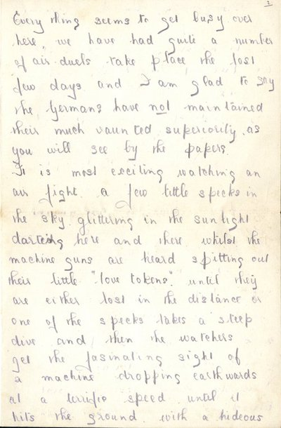 Letter from Herbert Morris R.F.C. to Monica Roberts 20th June 1916