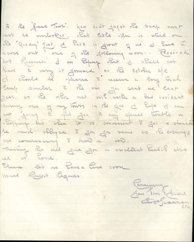 Letter from Corporal Arthur Brennan to Monica Roberts