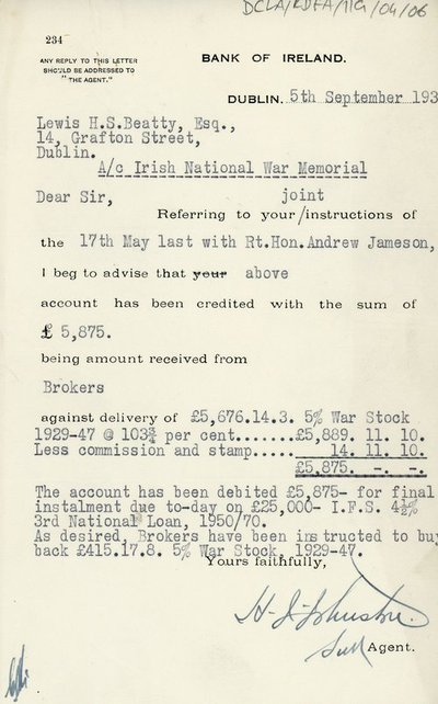 Letter from Bank of Ireland to Lewis H.S. Beatty, Esq.