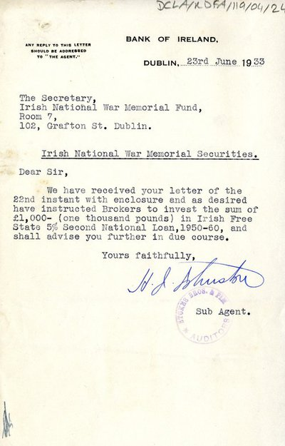 Letter from sub-agent, Bank of Ireland to The Secretary of the Memorial Committee