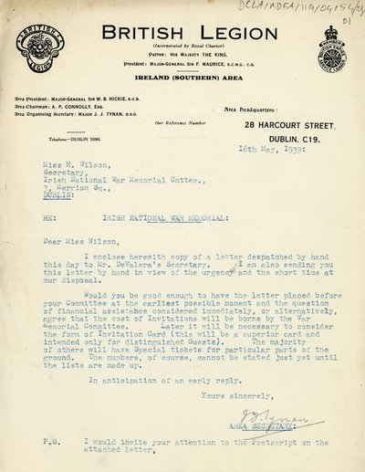 Correspondence from the British Legion, The Irish War Memorial Committee and Department of An Taoiseach