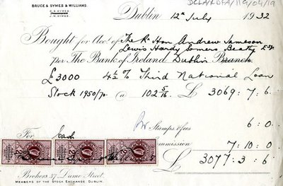 Receipt for purchased stock shares