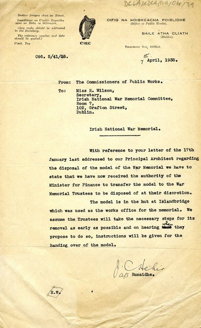 Letter from the Commissioners of Public Works to Miss H. Wilson, Secretary of the War Memorial Committee