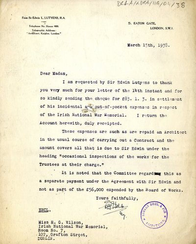 Letter on behalf of Sir Edwin Lutyens from [C. Walsh Esq.], 5, Eaton Gate, London to Miss H. G. Wilson