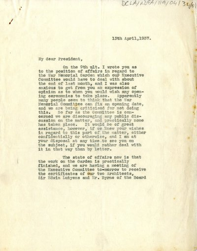 Letter from 'A.J.' to the President
