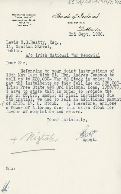 Letter from Agent of Bank of Ireland to Lewis H.S. Beatty, Esq.