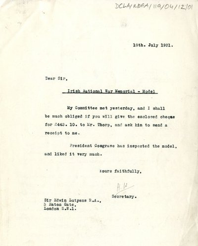 Correspondence regarding arrangements for the transport of the War Memorial Model.