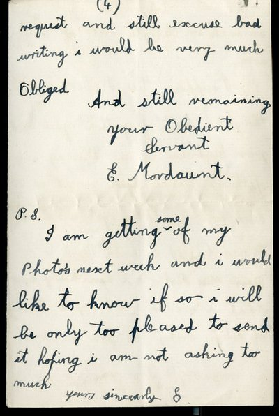 Letter from Private Edward Mordaunt to Miss.K. Roberts