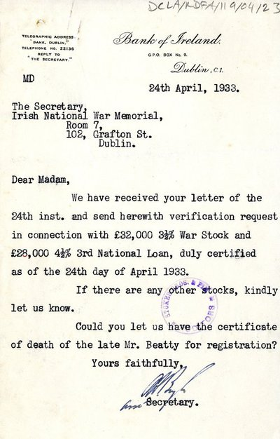 Letter from Bank of Ireland to the Secretary of the War Memorial Committee