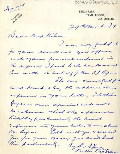 Letter from William T. Cosgrave to Miss Wilson