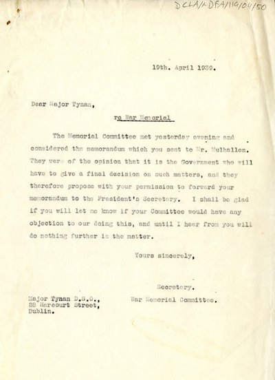 Letter from H. G. Wilson, Secretary of the War Memorial Committee to Major Tynan