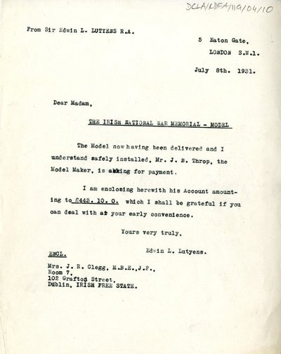 Letter from Sir Edwin L. Lutyens R.A. to Mrs. J.R. Clegg