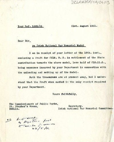 Letter to the Commissioners of Public Works from the Secretary of the Irish National Memorial Committee.