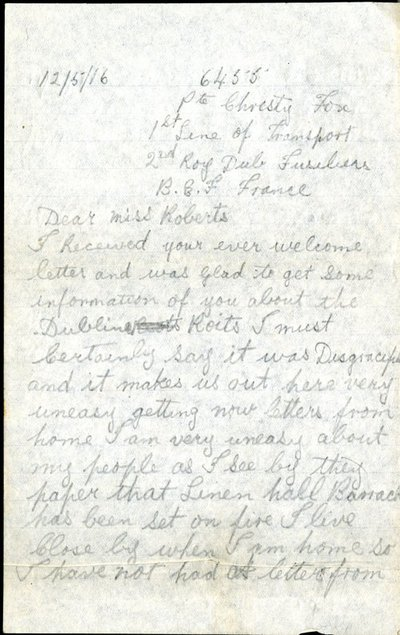 Letter from Private Christopher Fox to Monica Roberts