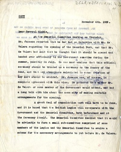 Copy of a letter sent to Major General Sir Wm. Hickie from the Secretary of the Memorial Committee