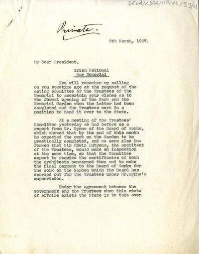 Letter addressed to the President