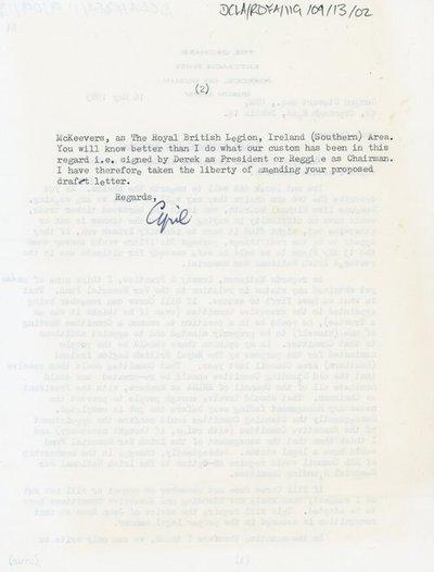 Letter to Gordon Stewart Esq. OBE, 42, Crannagh Road, Dublin