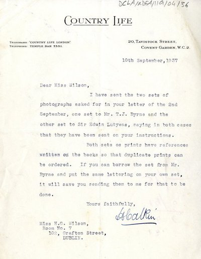 Letter from [H. Calkin] of Country Life to Miss H.G. Wilson